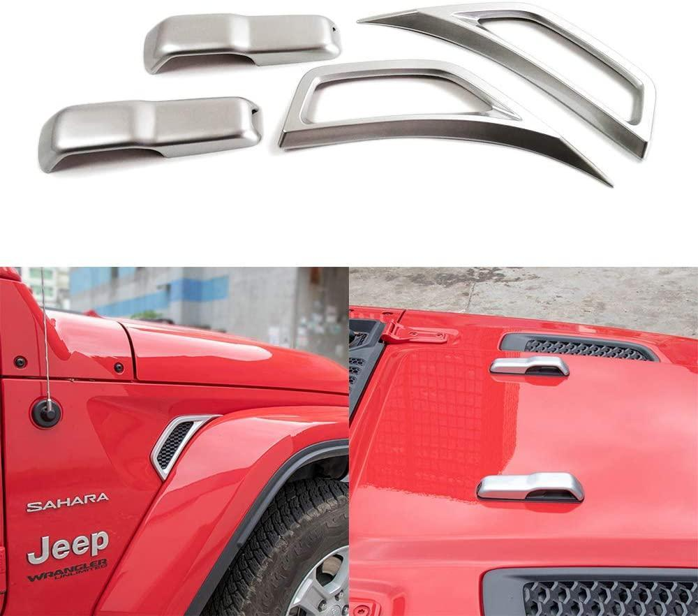 XBEEK Wheel Eyebrow Side Air Conditioning Vent Outlet Cover Sticker and Hood Hood Hinge Cover for 2018+ Jeep Wrangler JL and 2020 Jeep Gladiator JT (Silver)