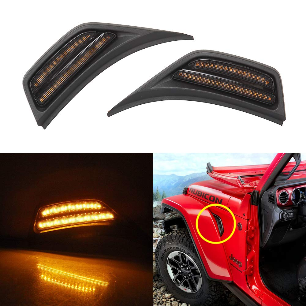 LED Front Fender Side Marker Light Turn Signal Lamp for 2018-2020 Wrangler JL JLU