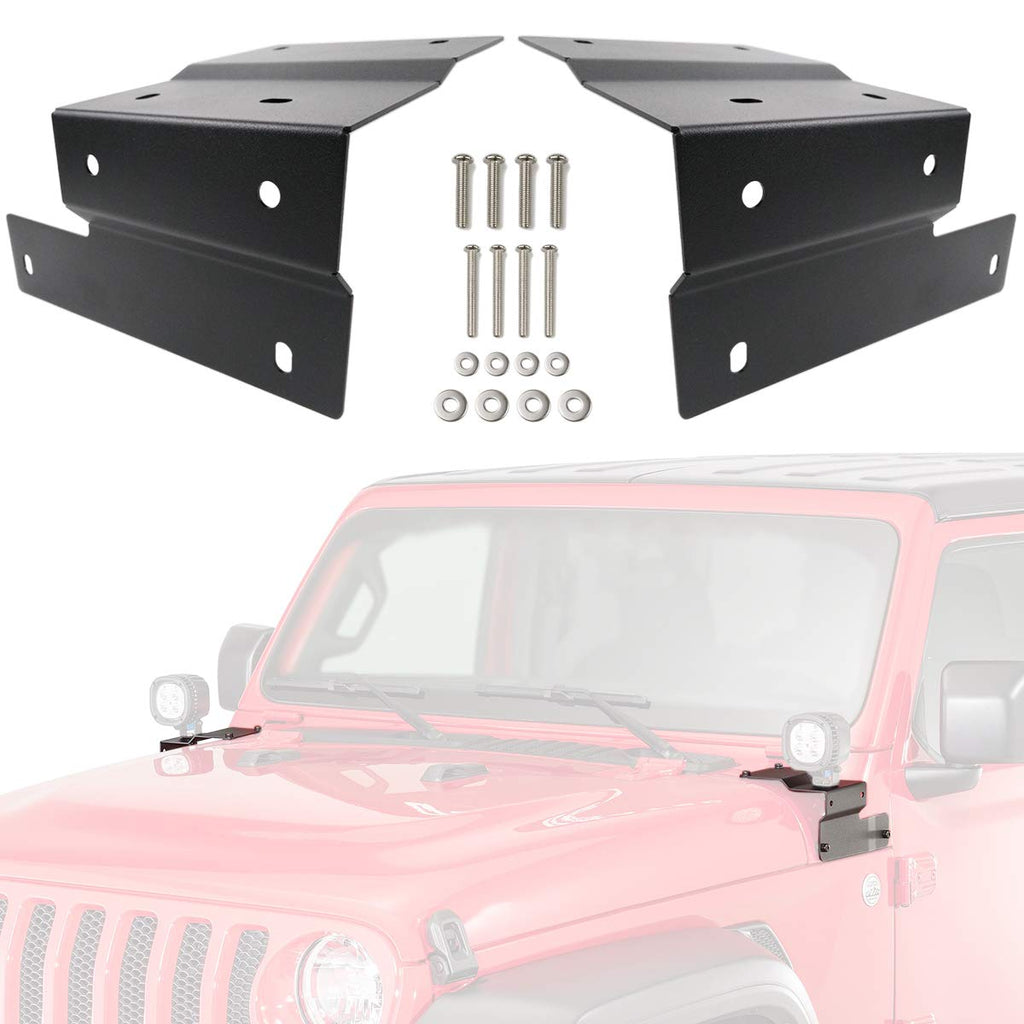 Lower A-Pillar Steel Mounting Brackets Clamp Holder A Pair for 2018-2019 2020 Wrangler JL by XBEEK