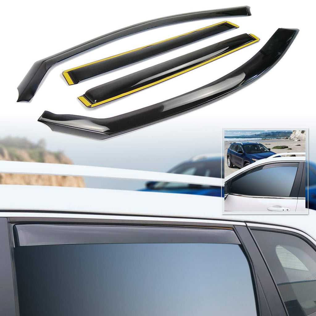 Side Window Deflector In-Channel Ventvisor Shield Wind Guard for 2014-2019 2020  Jeep Cherokee by XBEEK