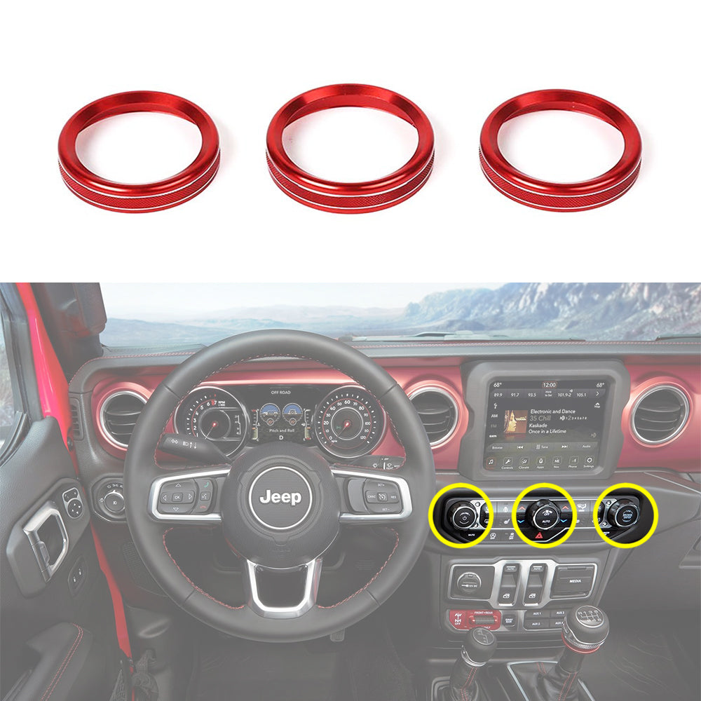 AC Switch Knob Button Ring Cover Trim for 18-20 Wrangler JL Interior Accessories