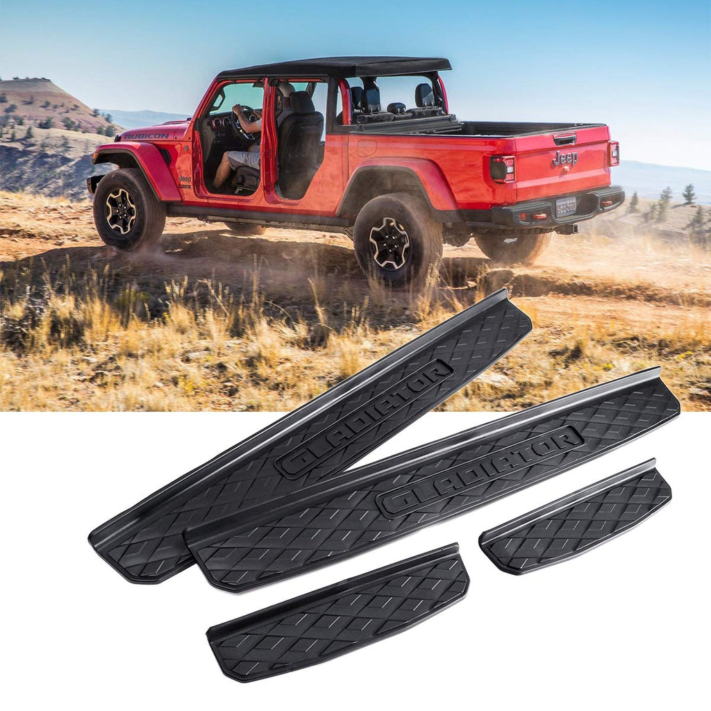 Door Sill Guards for 2020 Jeep Gladiator JT Accessories Entry Plate Cover with Gladiator Logo (Black, 4 pcs)
