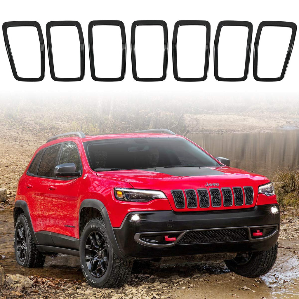 Front Grill Inserts Cover Gloss Grille Rings for 2019 2020 Jeep Cherokee KL by XBEEK