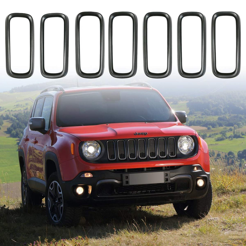 Front Grille Insert Ring Dark Gray Grill Cover Trim for Jeep 2015-2018 Renegade BU by XBEEK
