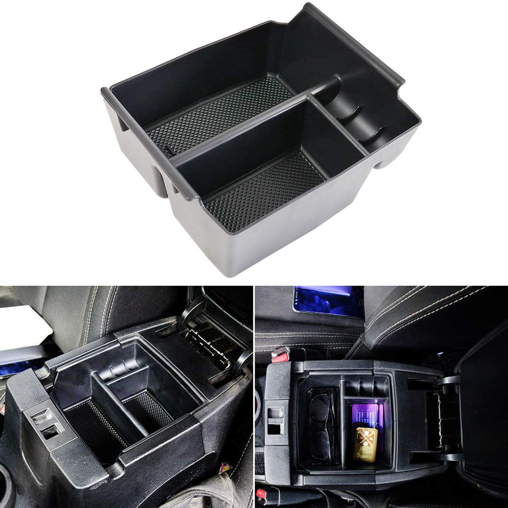 Armrest Storage Center Console Box Organizer Tray with Rubber Mats for 2011-2017 Jeep Wrangler JK JKU by XBEEK