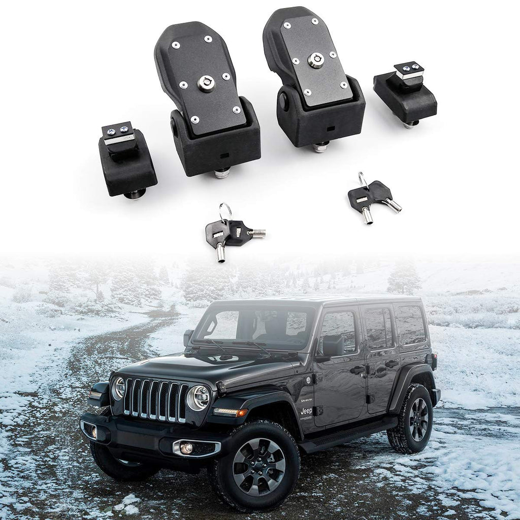 Hood Latches Hood Lock Catch Latches Kit Anti-Theft Original with Lock for Wrangler JK JL by XBEEK