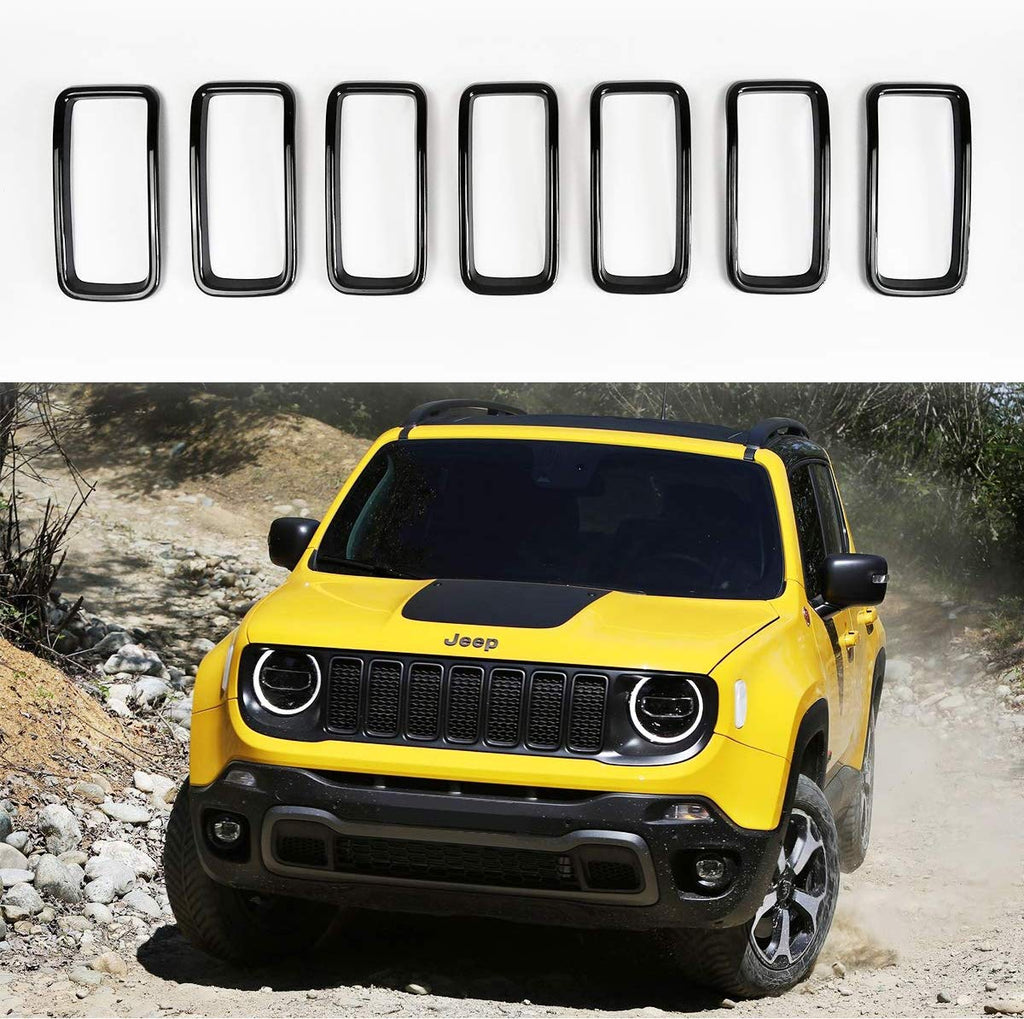 Latest 7PCs Front Grille Insert Grill Ring Trim Cover for 2019 2020 Jeep Renegade XBEEK