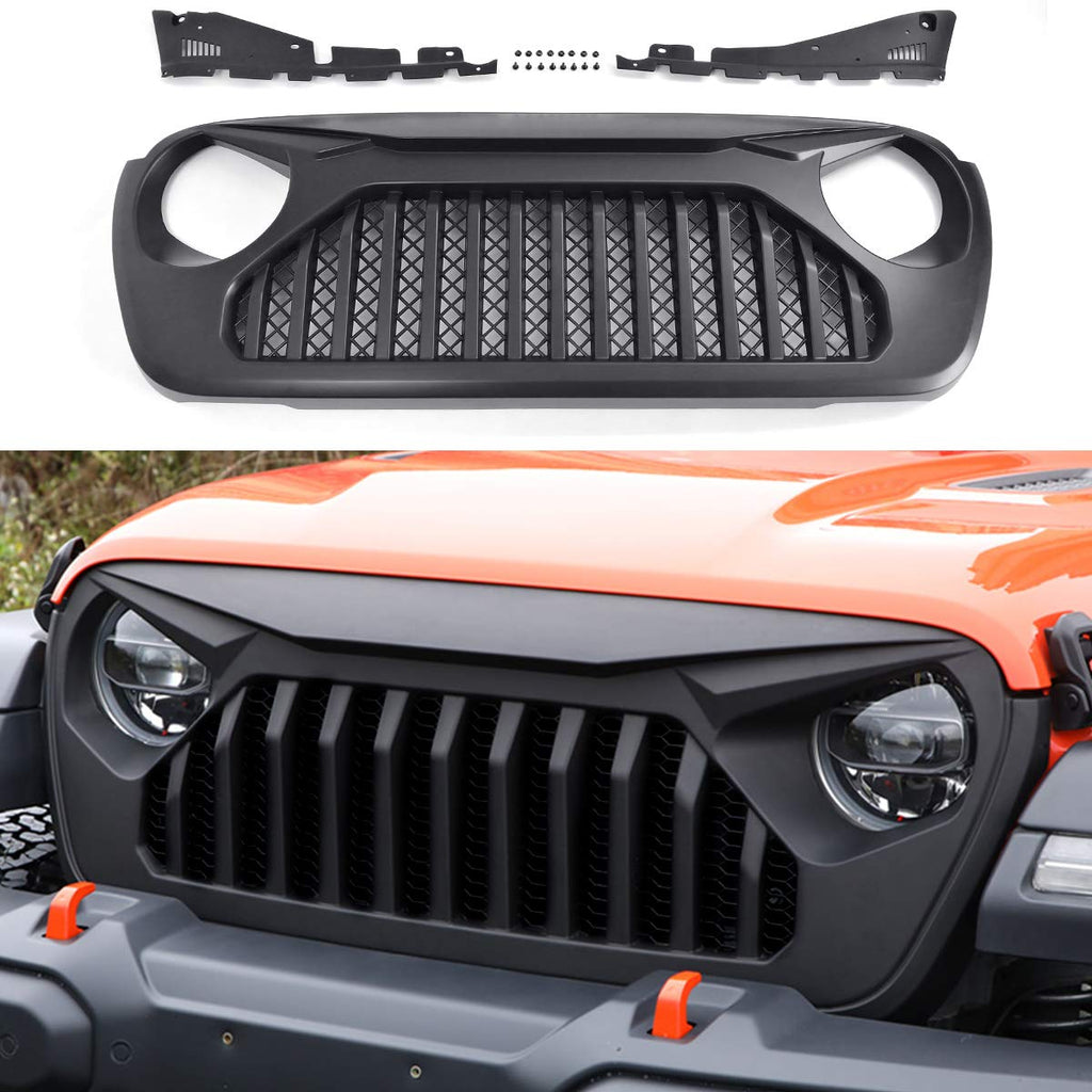 Front Hood Bumper Mesh Angry Grill Matte Black Grill for 2018-2019 Jeep Wrangler JL JLU by XBEEK