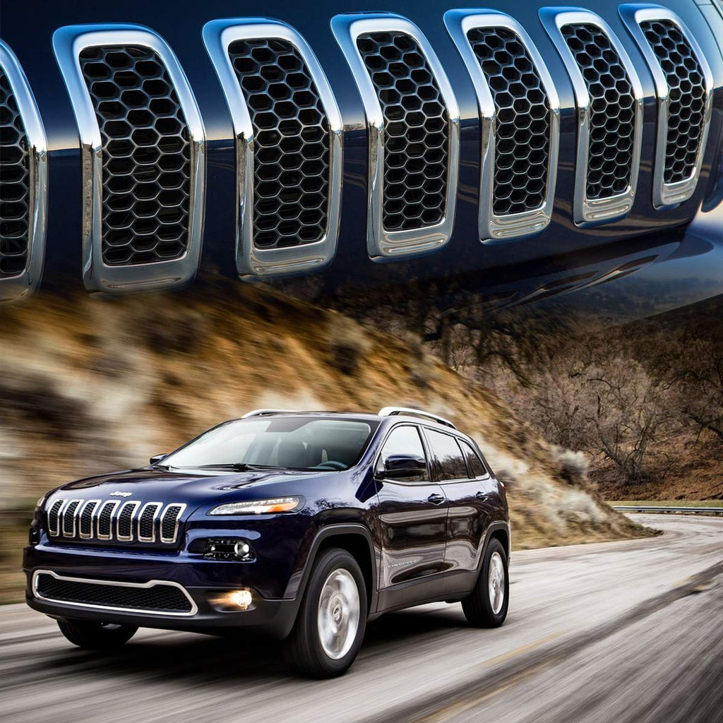 Front Grille Grid Grill Inserts Covers Dark Chrome Ring for 2014-2018 Jeep Cherokee KL by XBEEK