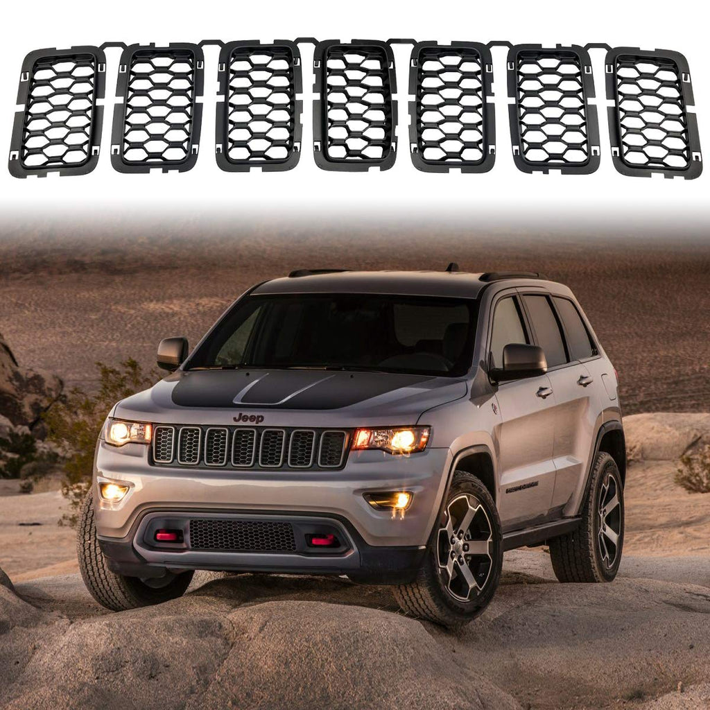 Honeycomb Matte Mesh Front Grill Inserts Black for Jeep Grand Cherokee 2017 2018 2019 2020 by XBEEK