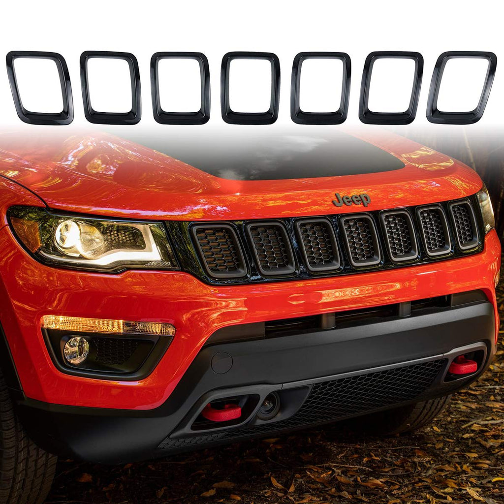 Front Grille Inserts Cover Trim Kit 3M Tape Style Black Ring for 2017-2019 Jeep Compass MP by XBEEK