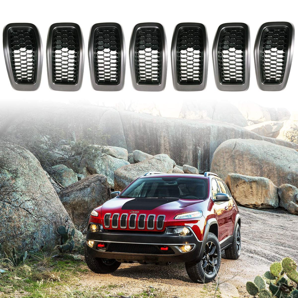 Front Grille Grid Grill Inserts Covers Dark Gray Ring for 2014-2018 Jeep Cherokee KL by XBEEK