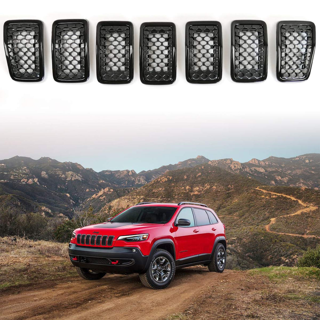 Grill Mesh Honeycomb Inserts Gloss Rings Front Grille Covers for 2019 2020 Jeep Cherokee by XBEEK