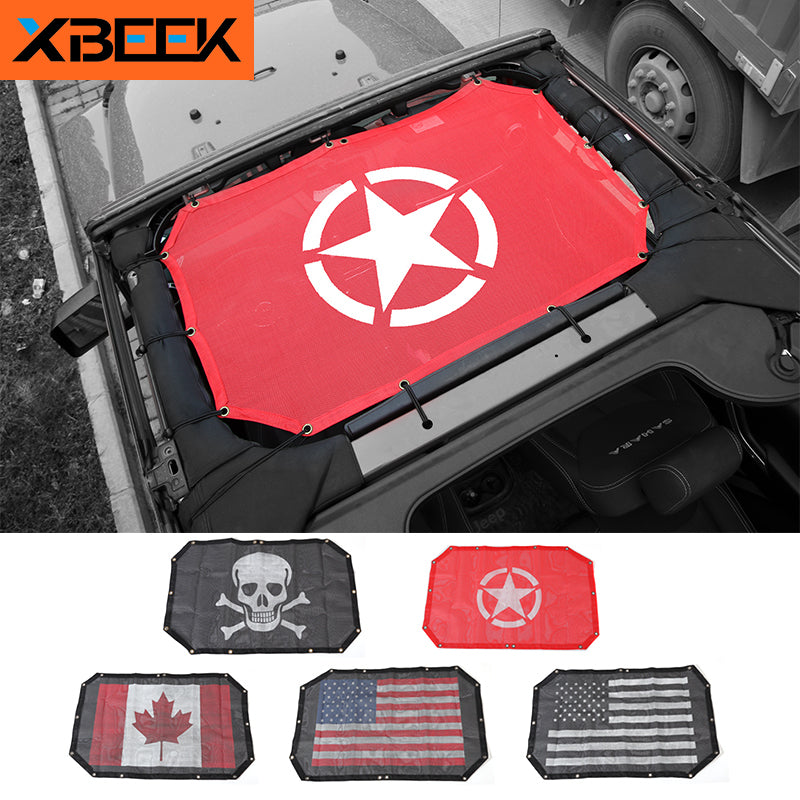 Sunshade Top Roof Mesh Sun UV Protector Car Cover for Jeep Wrangler JK 2007-2017 2 Doors by XBEEK