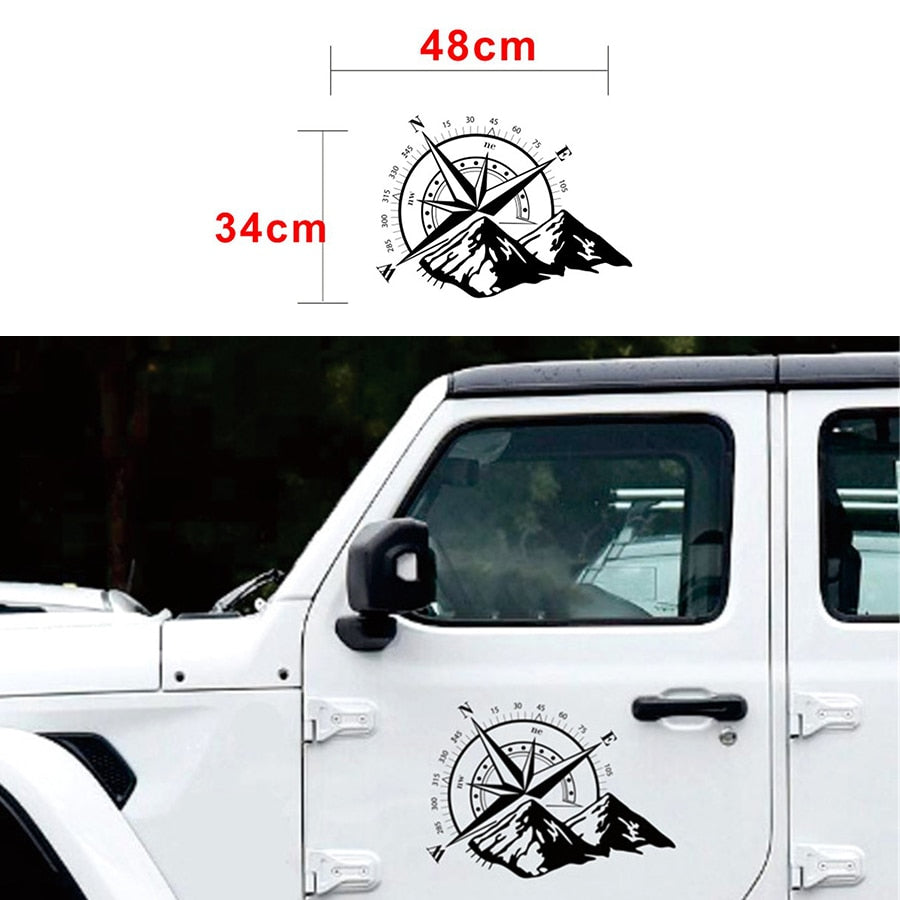 Graphic Sticker Compass Snow Mountain Decal Door Hood Off-Road Accessories Black for Jeep by XBEEK