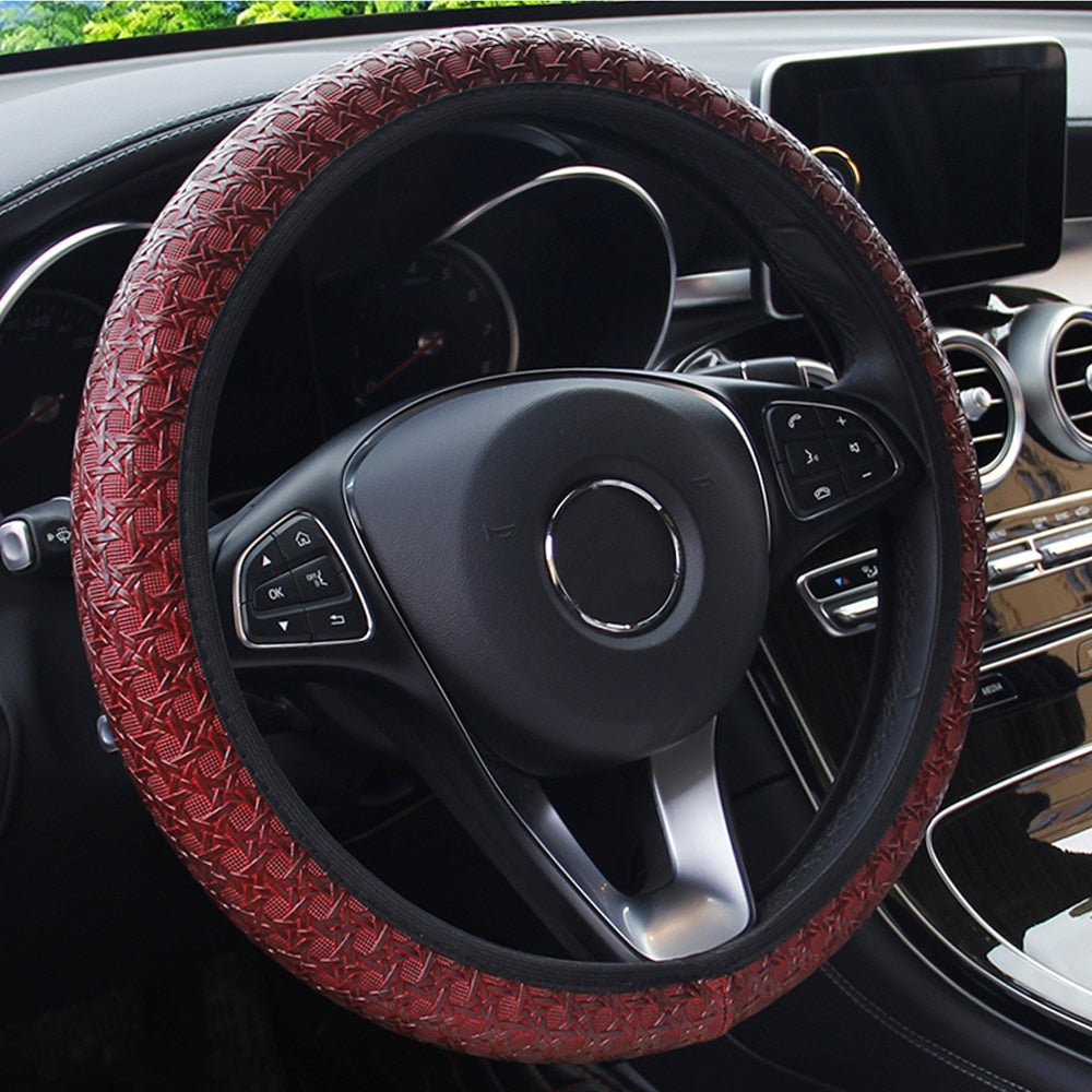 Steering Wheel Cover Composite Foam Leather Universal for Most 15'' Diameter Interior by XBEEK