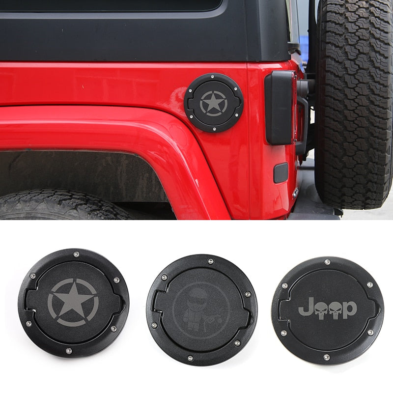 Gas Fuel Cap With Rubber Gasket Ring Decoration for Jeep Wrangler JK 2007-2018 by XBEEK