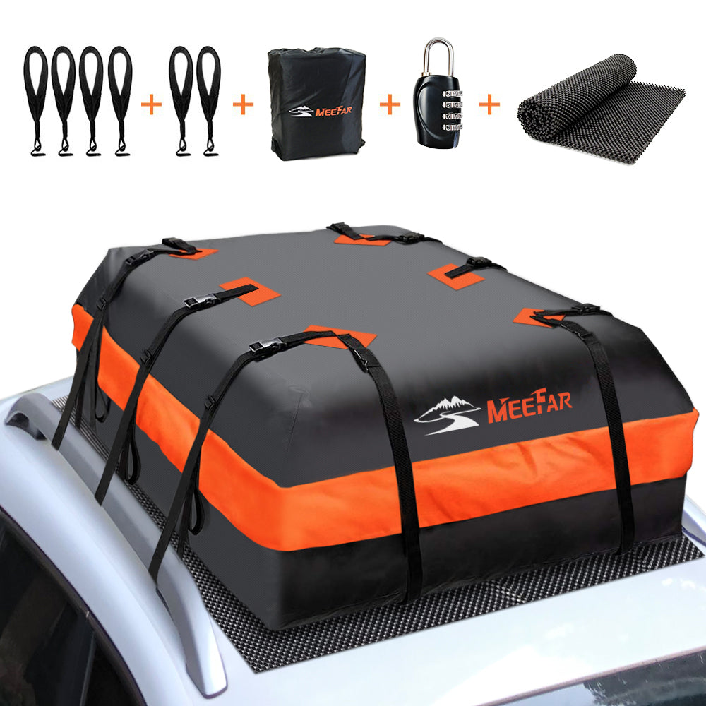 6 Door Hooks XBEEK Car Roof Bag Rooftop Cargo Carrier Waterproof 15 Cubic feet Car Top Carrier for All Cars with//Without Rack Includes Anti-Slip Mat Luggage Lock 8 Reinforced Straps