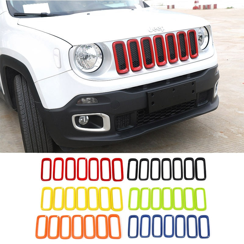 Front Grille Cover Ring Decoration Stickers ABS Insert Trim for Jeep Renegade 2016-2018 by XBEEK