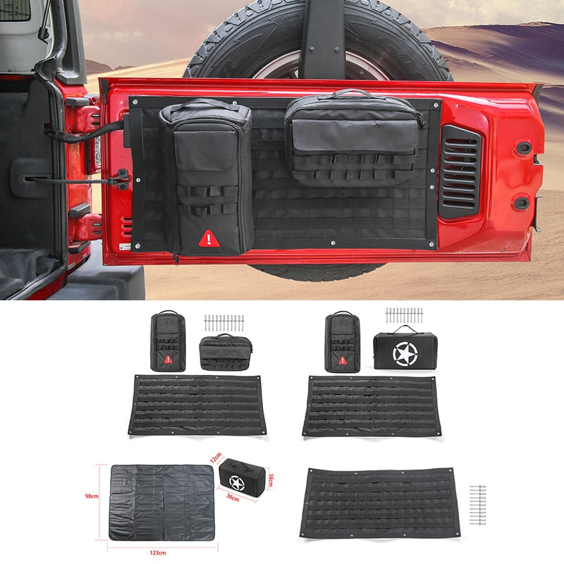 Tail Door Storage Bags Tool Kit Organizer Camping Mat for Jeep Wrangler JK JL 2007-2019 2020 by XBEEK