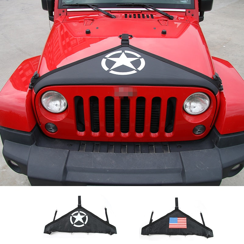 Hood Bra Decoration Canvas Cover Star USA Flag Engine Cover for Jeep Wrangler JK 2007-2017 by XBEEK