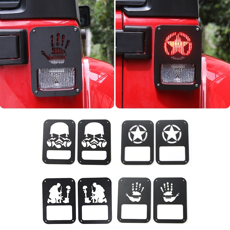 Tail Lamp Cover Trim Frame Rear Light Protecting Sticker for Jeep Wrangler JK 2007-2017 by XBEEK
