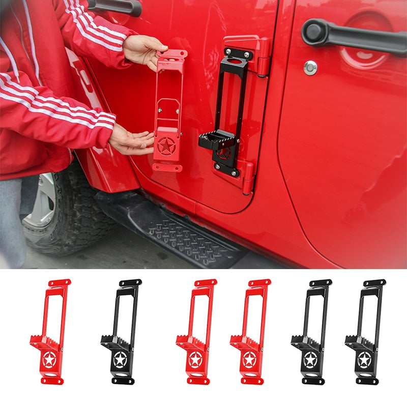 Door Hinge Steps Foot Plate Climbing Kit Solid Steel for Jeep Wrangler JK JL 2007-2019 2020 by XBEEK