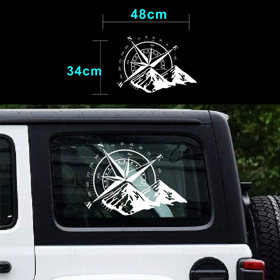 Graphic Sticker Compass Snow Mountain Decal Door Hood Off-Road Accessories White for Jeep by XBEEK