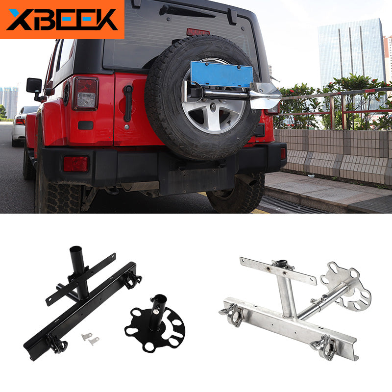 License Plate Holder Spare Tire Carrier Flag Bracket Outdoor Tool Holder for Jeep Wrangler by XBEEK