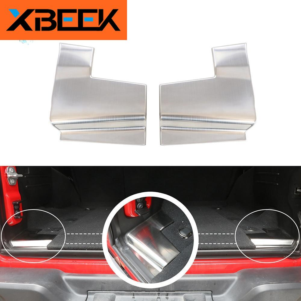 Rear Body Trunk Guards Cover Stainless Door Sill Entry Guard for Jeep Wrangle JL 2018 2019  2020 by XBEEK