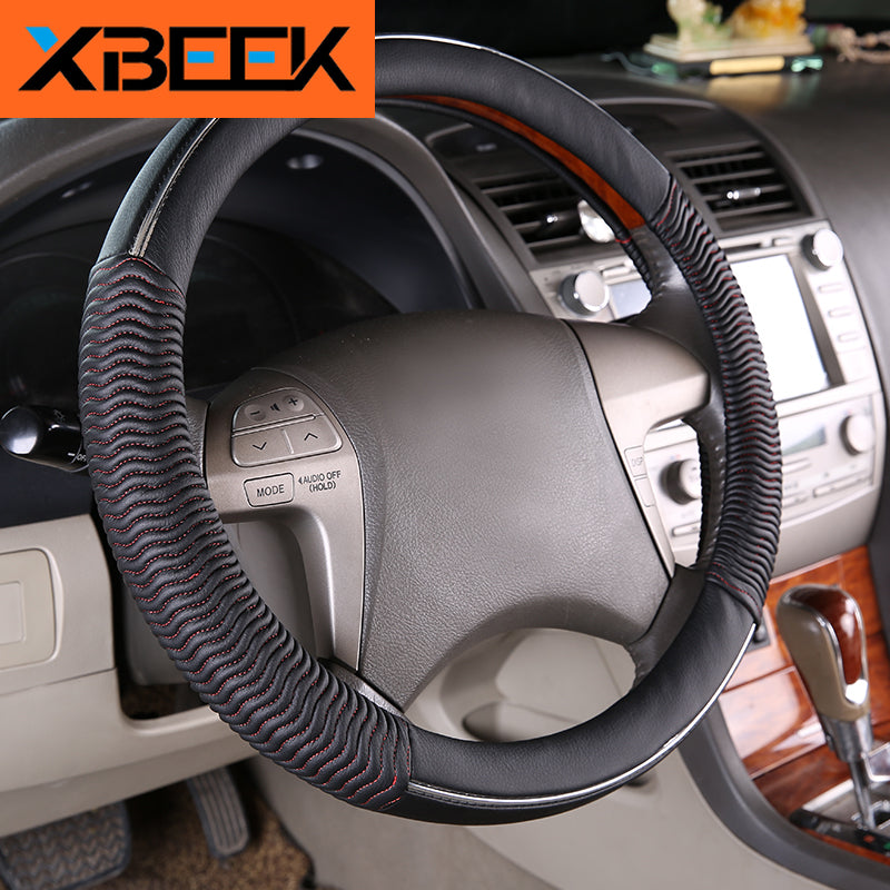 Steering Wheel Cover Line Sewing Motion Wave Pattern Diameter 15'' Universal Accessories by XBEEK