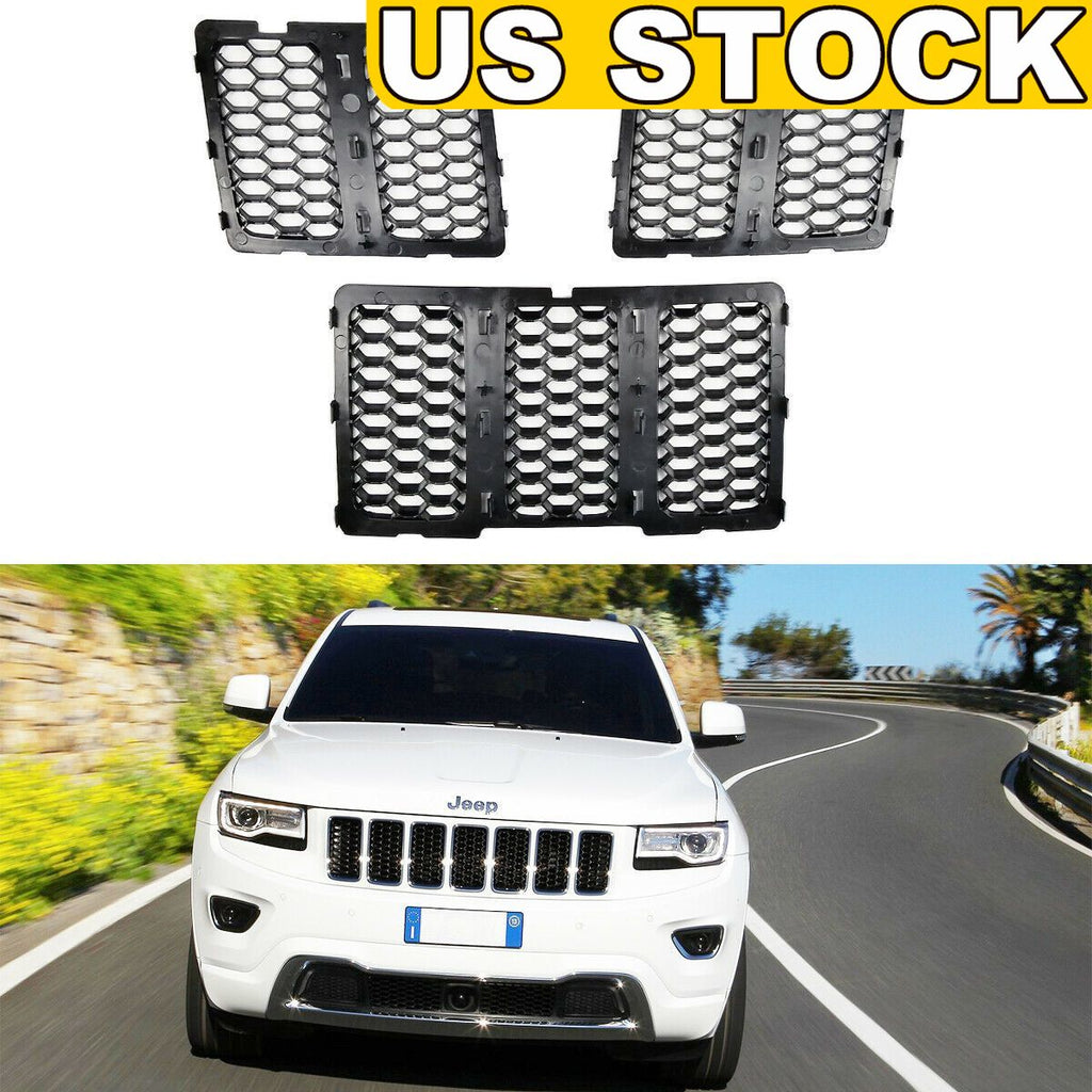 Honeycomb Mesh Grille Grill Insert Matte Black for 2014-2016 Jeep Grand Cherokee WK2 by XBEEK