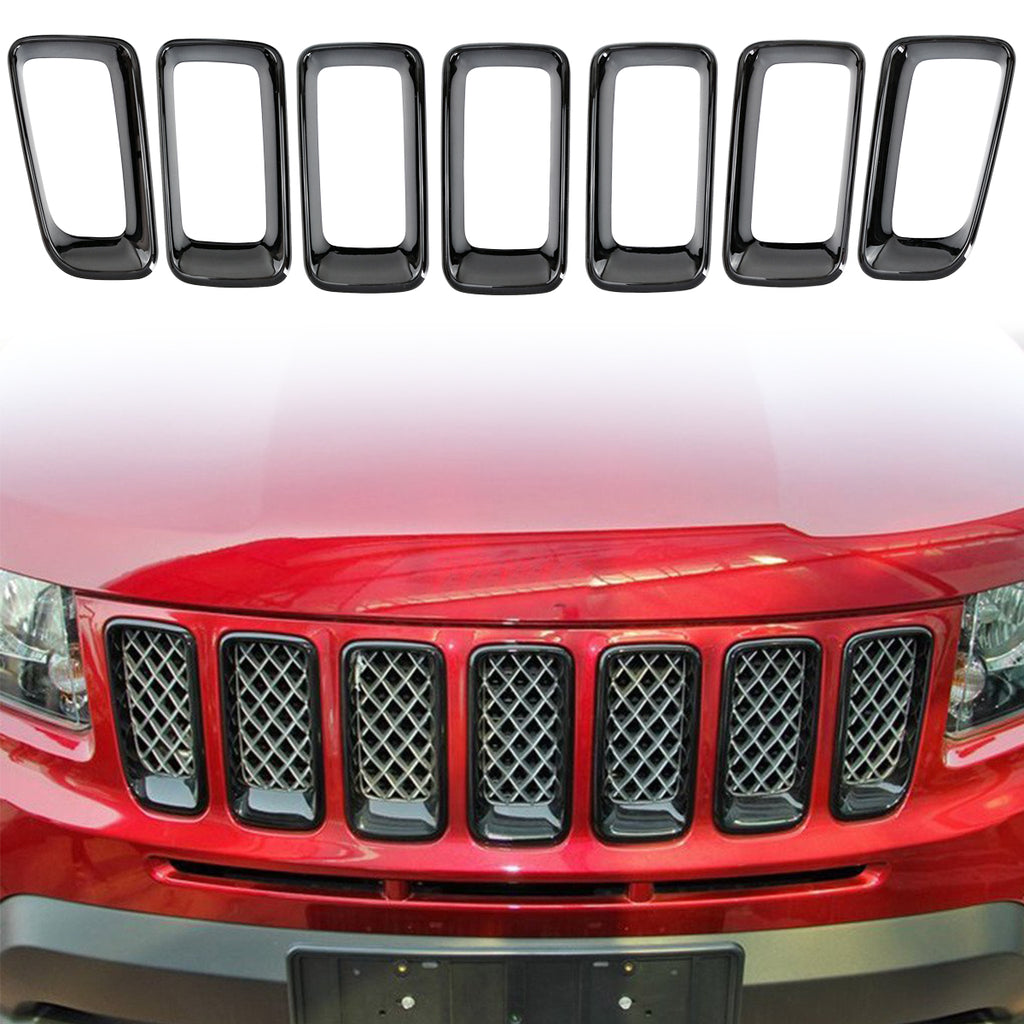 Front Grille Inserts Cover Trim Kit Rings for for 2011-2016 Jeep Compass MK by XBEEK