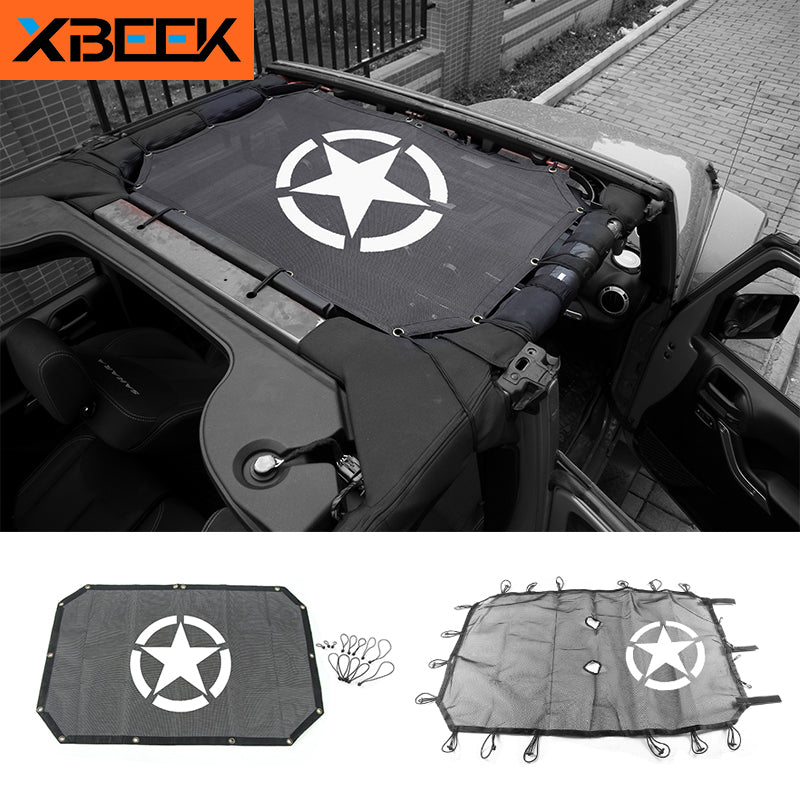 Top Sunshade Cover Roof UV Proof Protection Net for Jeep Wrangler JK 2007-2017 by XBEEK