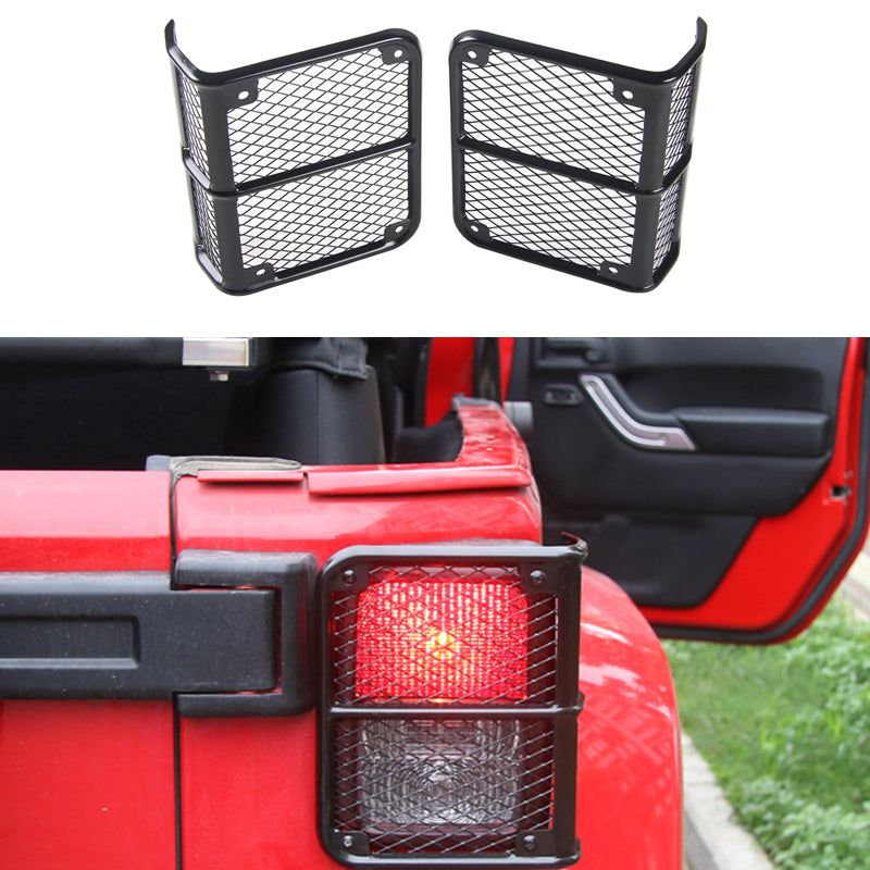 Tail Light Cover with Net Black Metal Protective Guard for Jeep Wrangler 2007-2017 JK by XBEEK