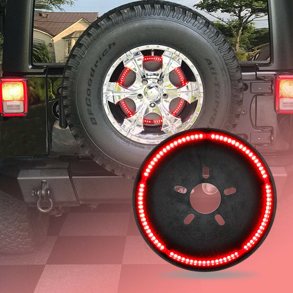 Spare Tire Third Brake Tail Light LED Red Wheel Light for Jeep Wrangler 1987-2019 2020 Jeep Wrangler JL JK YJ TJ/LJ YJ by XBEEK