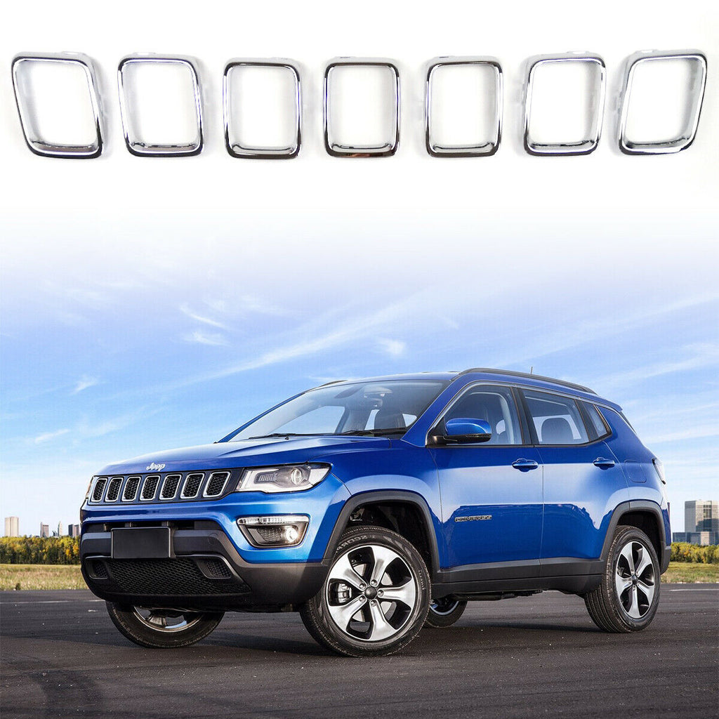 Front Grille Insert Cover Trim Kit Silver Clip-in Rings for 2017-2019 Jeep Compass MP by XBEEK