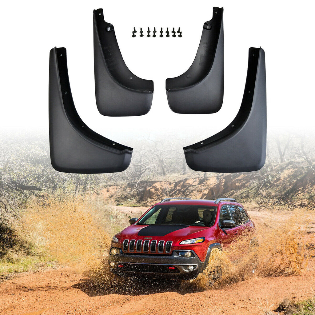 Mud Flaps Splash Guards Fender Flares for 2014-2018 Jeep Cherokee KL by XBEEK