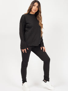 Black Long Sleeve Loungewear Co-Ord