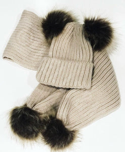 Double Pom Pom Baby Hat and Scarf Set Available in 4 Colours