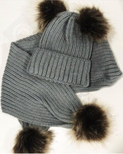Load image into Gallery viewer, Double Pom Pom Baby Hat and Scarf Set Available in 4 Colours