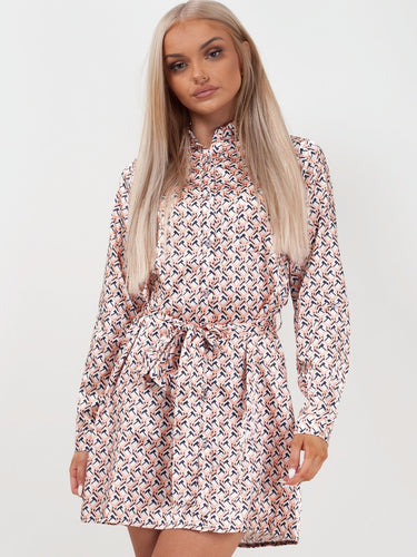 Moroccan Print Shirt Dress