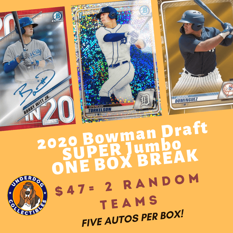 2020 Bowman Draft Baseball SUPER Jumbo 1 Box Random Teams Break (2 Teams)