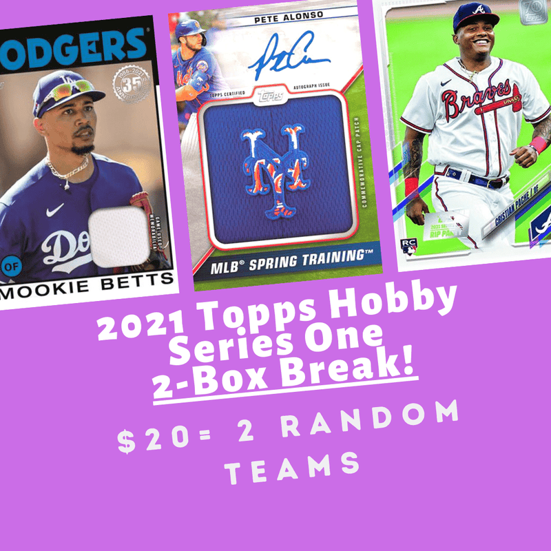 2021 Topps Series 1 Baseball 2 Hobby Box Random Team Break (2 Teams)