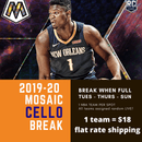 2019-20 Mosaic Basketball ONE CELLO Multi-Pack BOX Random Team Break