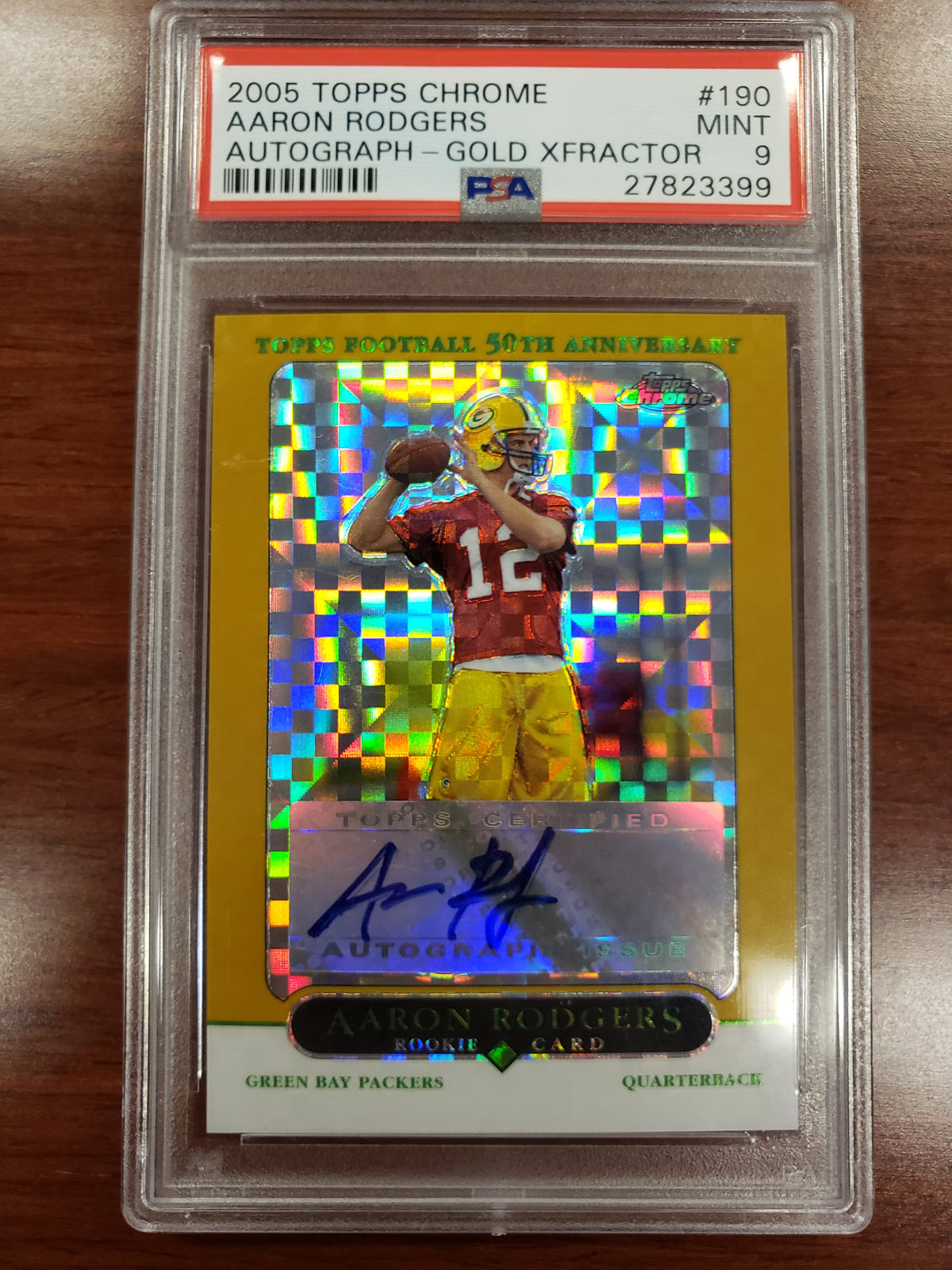 Aaron Rodgers 2005 Topps Chrome Gold Xfractor RC Rookie Auto /399 PSA 9 Mint