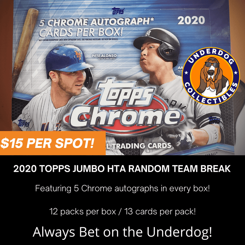 2020 Topps Chrome Baseball 1 Jumbo HTA Box Random Team Break