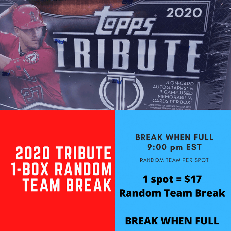 2020 Tribute Baseball 1 Box Random Team Break