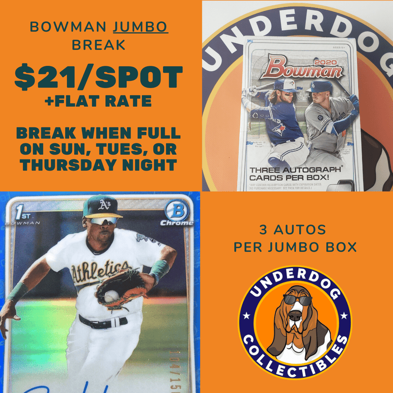 2020 Bowman JUMBO Hobby Baseball Random Team Break - BREAK WHEN FULL