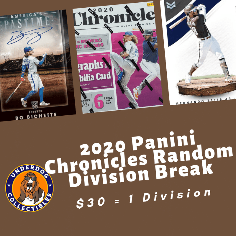 2020 Chronicles Baseball 1 Hobby Box Random Division Break